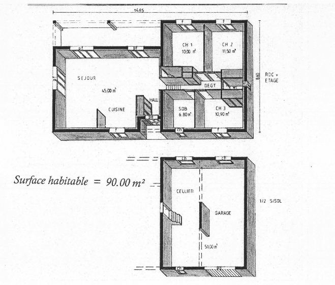 Plan maison garage sous sol for Plan maison avec garage