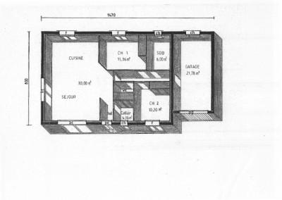 Plan 3D maison de plein pied 77m²