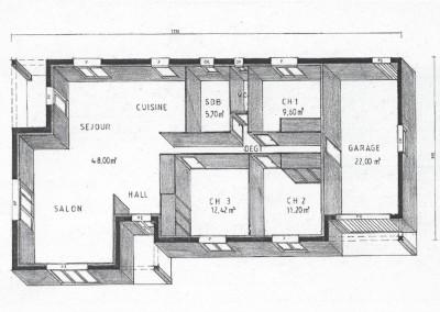 Plan maison plein pied 95,7 m²