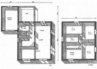 Plan 3D d'une maison à étage sur 122 m²