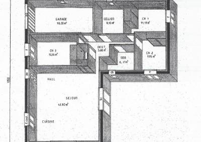 Plan en 3d de maison plein-pied de 100m²