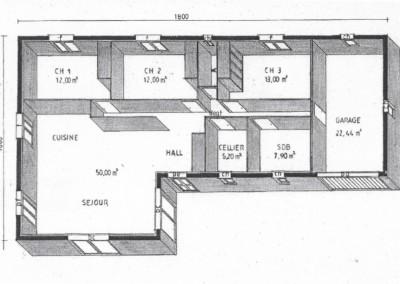 Plan 3D d'une maison plein-pied de 108m-2